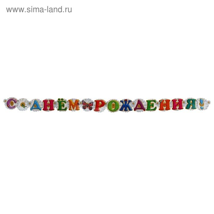 """Гирлянда """"C Днем Рождения!"""", ромашки"""