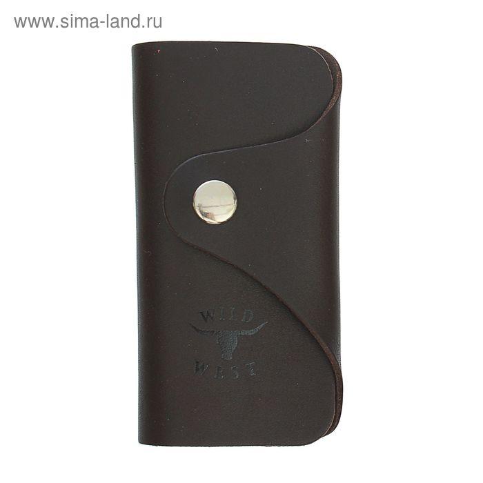 Ключница на кнопке, 6 карабинов, коричневый матовый