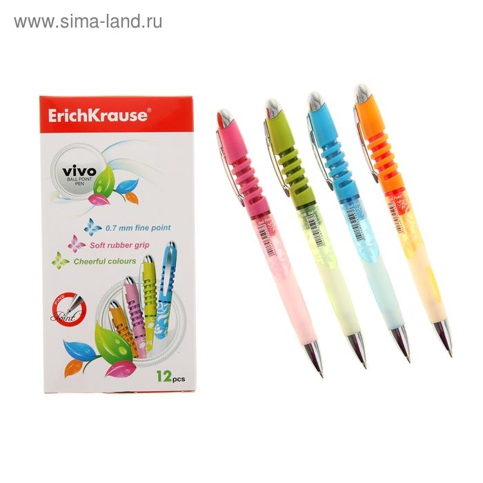 Ручка шариковая автомат Erich Krause VIVO стержень синий EK 32509