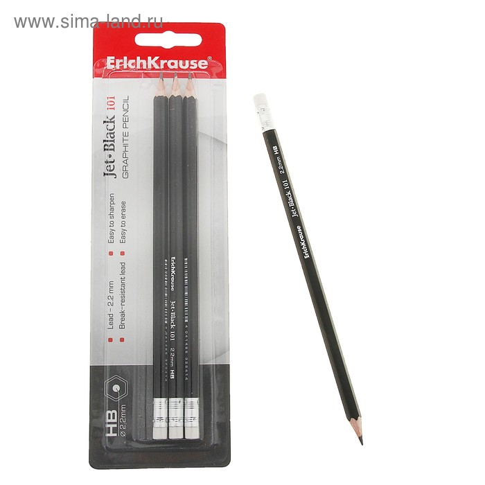 Набор карандашей чернографитных 4 штуки Erich Krause НВ JET BLACK 101 ластиком в блистере 3284