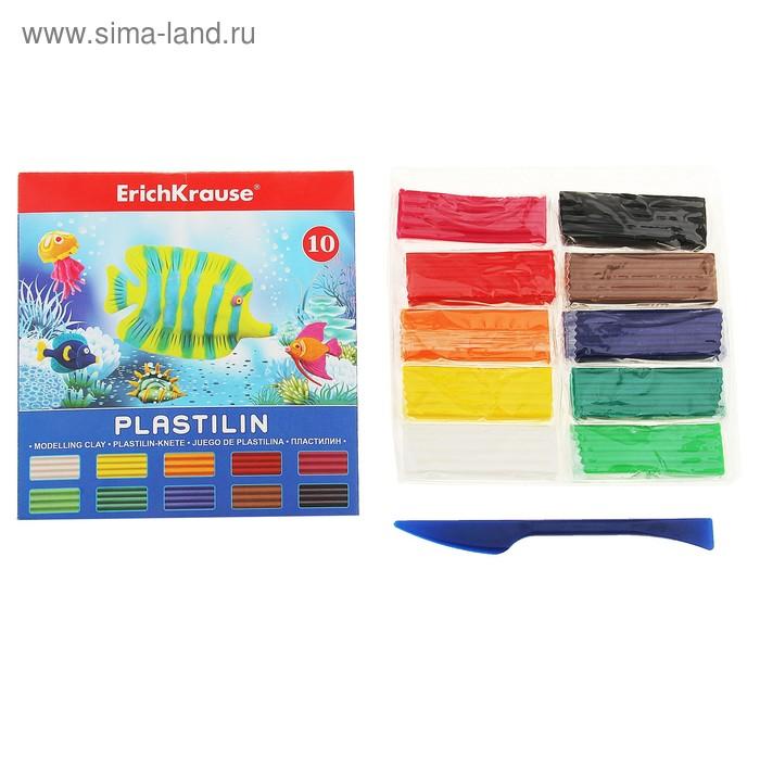 Пластилин 10 цветов 180гр, со стеком, EK 30652