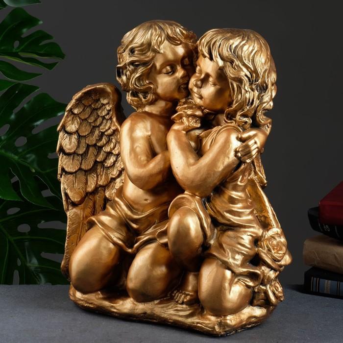 """Статуэтка """"Ангел и Фея"""", сидя, большая, бронза"""
