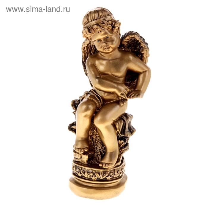 """Статуэтка """"Ангел на камне"""" золото"""