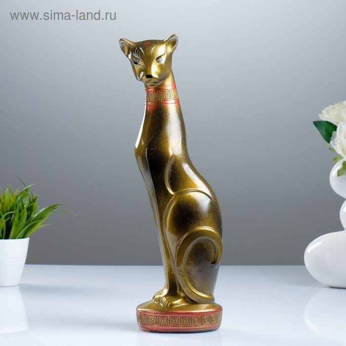 """Сувенир """"Кошка Багира №1"""" большая сидячая черная с золотом"""