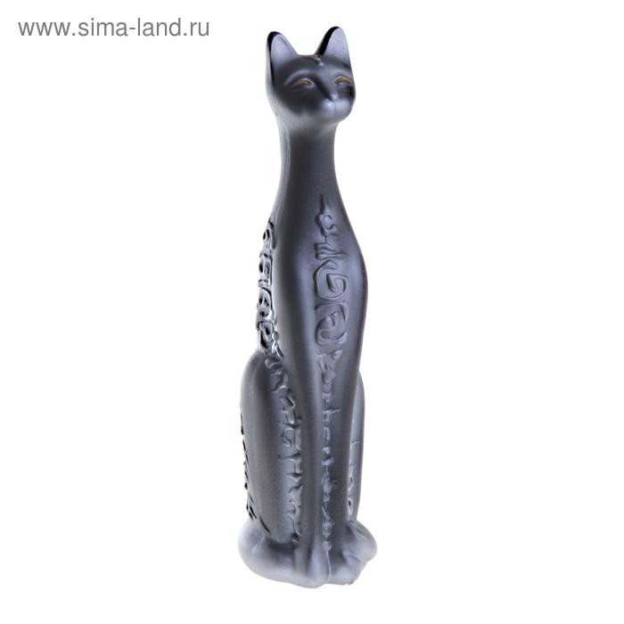 """Сувенир """"Кошка Египетская"""" средняя орнамент черная с серебром"""