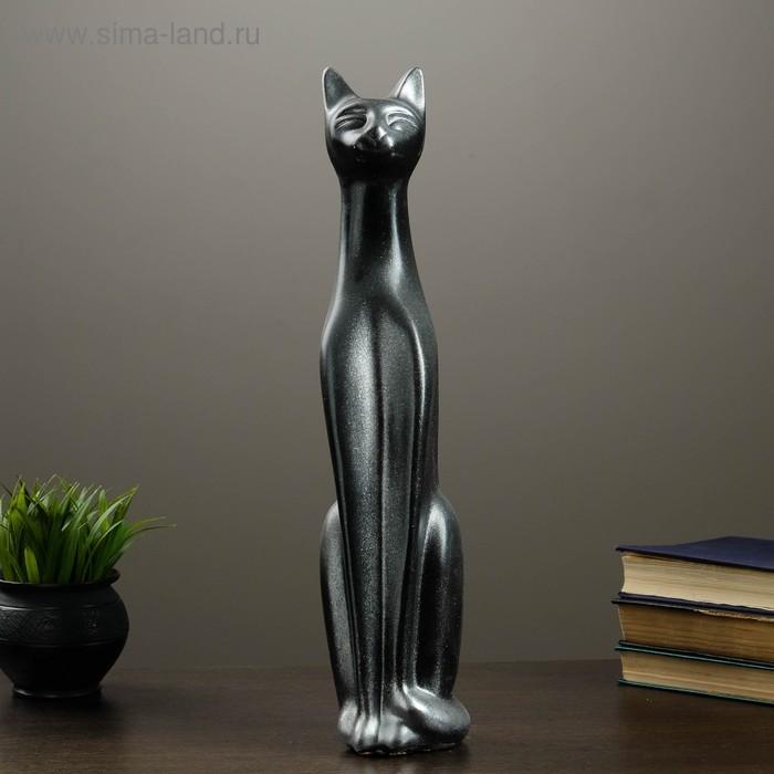 """Сувенир """"Кошка Египетская"""" черная с серебром"""