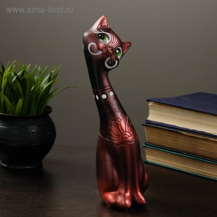 """Сувенир """"Кошка девочка"""" черная с медью"""