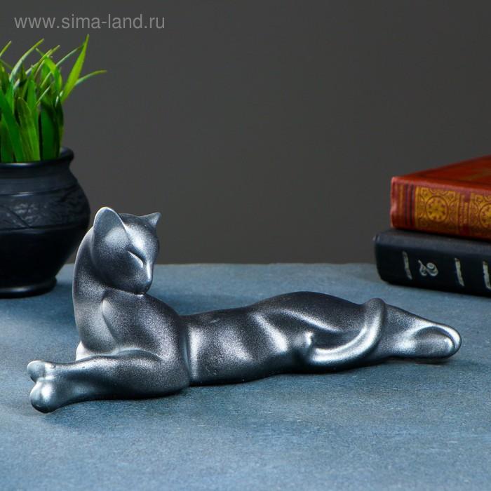 """Сувенир """"Кошка Багира №3"""" малая лежачая, черная с серебром"""