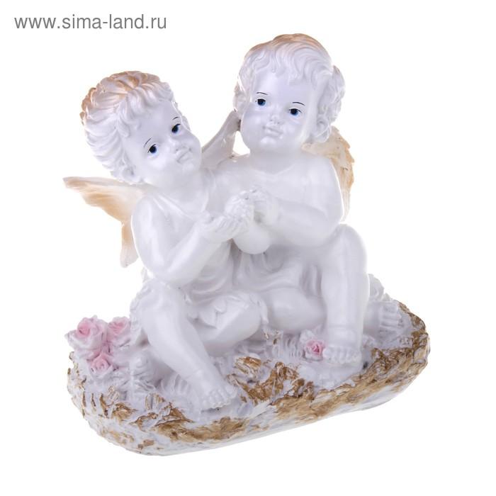 """Статуэтка """"Ангел и Фея"""" сидя"""" малая белый"""