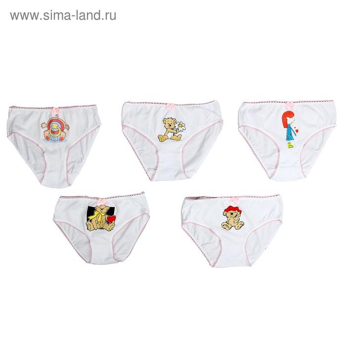 Детские трусы для девочки с аппликацией, рост 140см (38), цвет белый