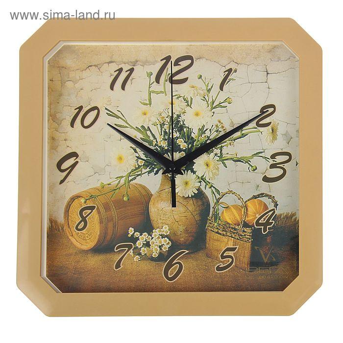 """Часы настенные квадратные """"Букет полевых цветов"""", кухонные"""