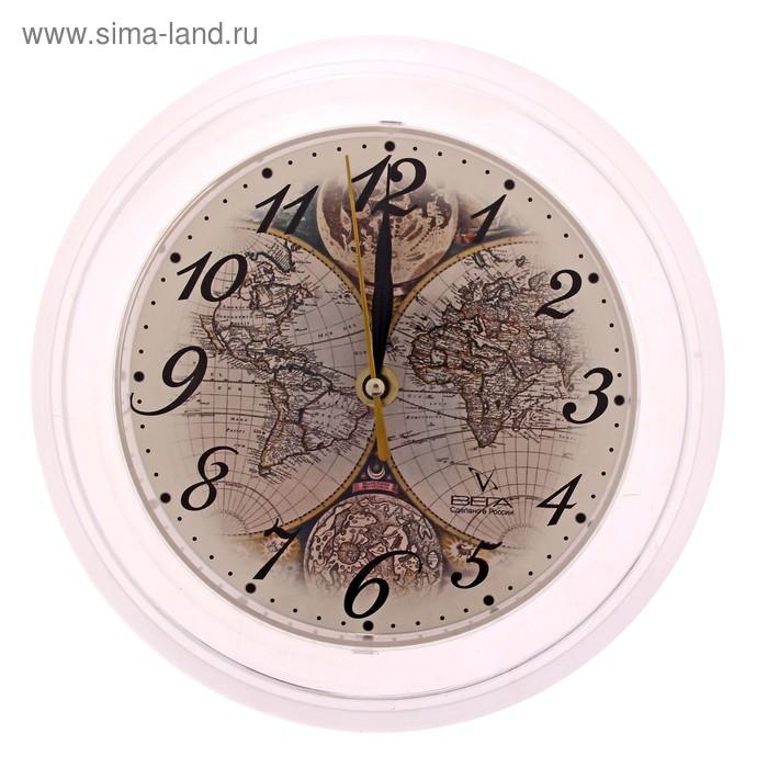 """Часы настенные круглые """"Карта мира"""", белые"""