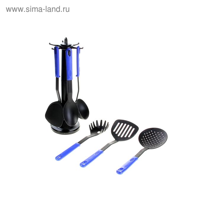 """Набор кухонных принадлежностей на подставке """"Элегант"""", 6 предметов, цвет синий"""