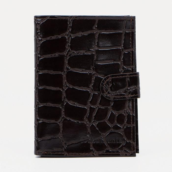 Обложка для автодокументов и паспорта на кнопке, отдел для купюр, коричневый скат