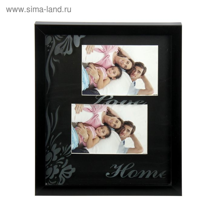 """Фоторамка """"Любовь"""" с цветочным орнаментом на чёрном на 2 фото 10х15 см"""