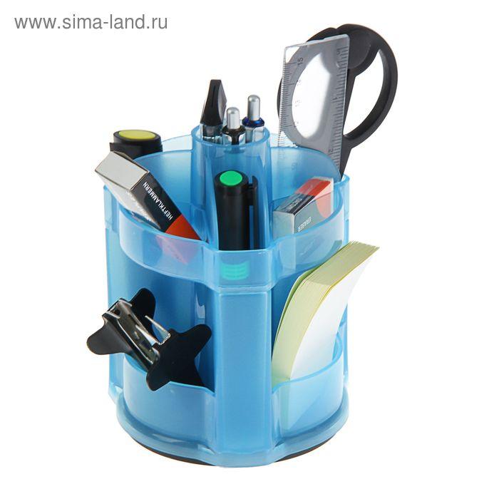 Набор настольный Lamark Frankfurt вращающийся, премиум наполнение 12 предметов, прозрачный синий