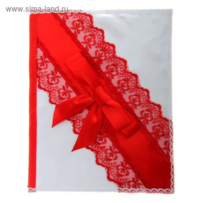 Папка для свидетельства о брака ручной работы, цвет красно-белый