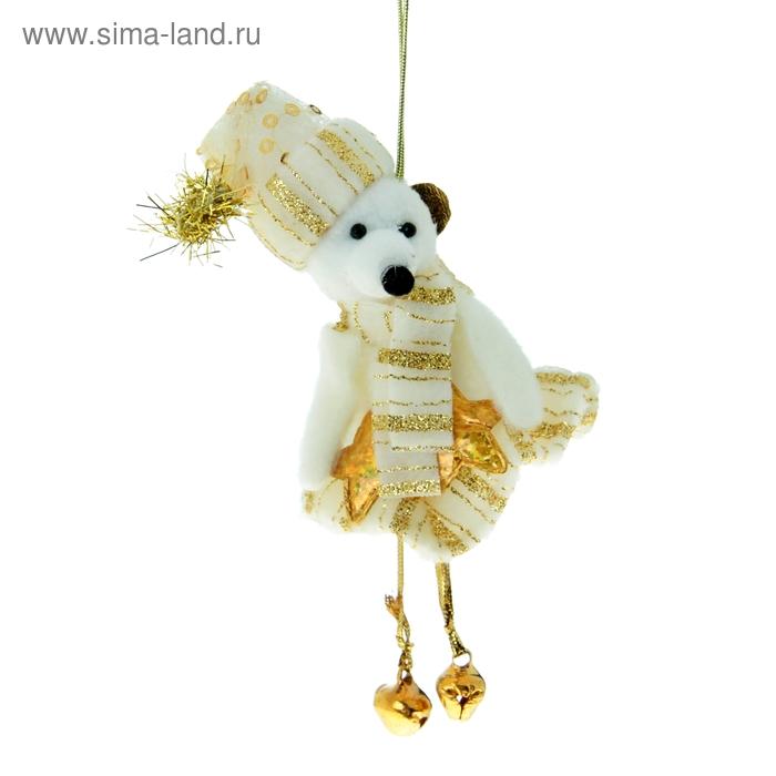 """Мягкая ёлочная игрушка """"Мишка"""" золотая полоска"""