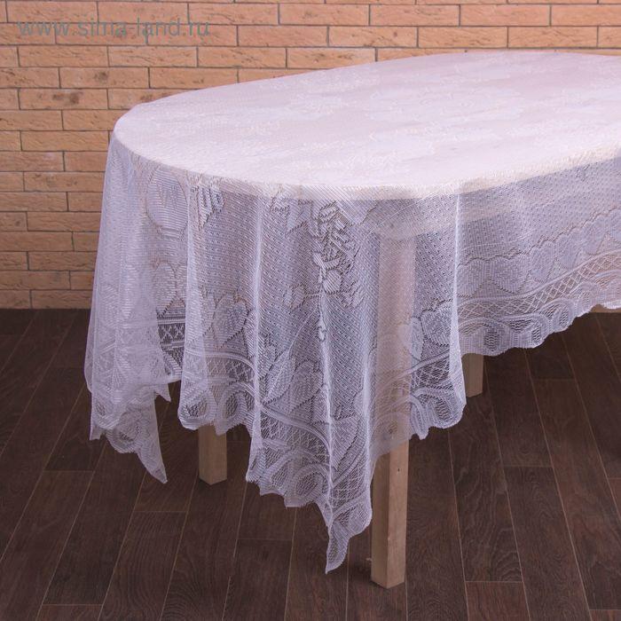 """Скатерть """"Алина"""", размер 140х200, 100% полиэстер, цвет белый"""
