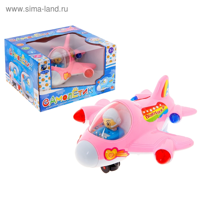 """Самолет """"Веселый"""", с пилотом, работает от батареек. Световые и звуковые эффекты, цвета МИКС"""