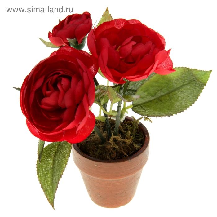 """Композиция в горшке """"Пышные красные розы"""""""