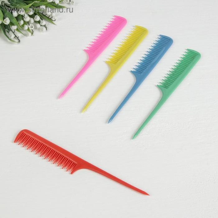 Расчёска с хвостиком, двухрядная, цвета МИКС