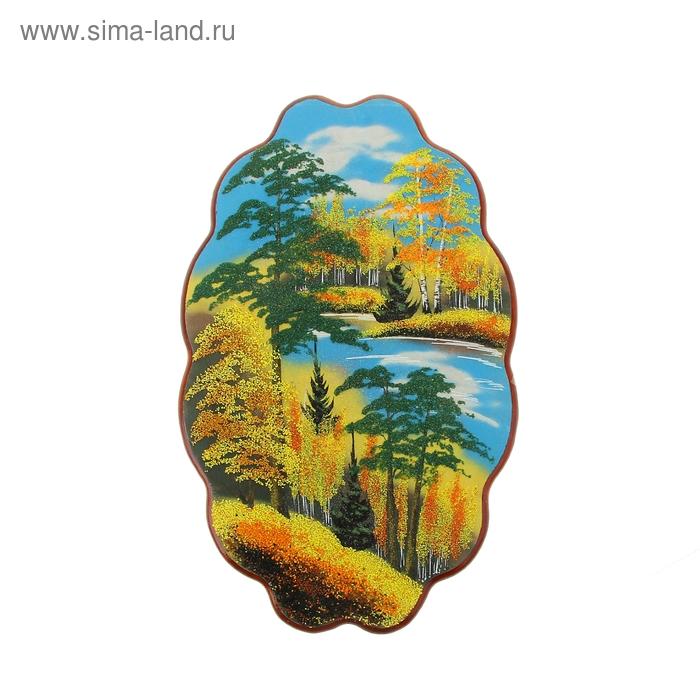 "Картина ""Осень"" в форме облака №4-1 30х45х2 см каменная крошка"
