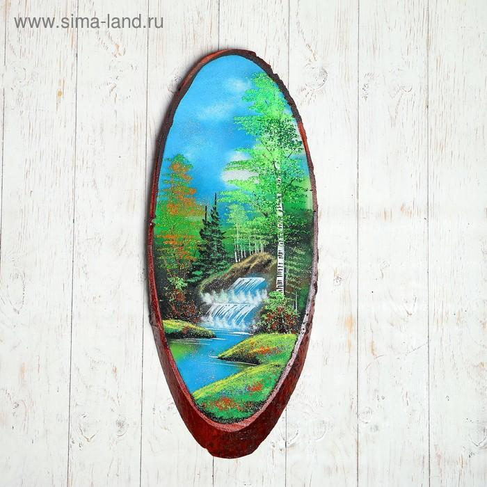 """Картина """"Лето"""" в форме среза дерева 70 см, каменная крошка"""