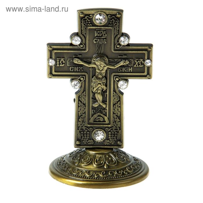 """Крест на подставке """"Православный с каменьями"""", бронзовый цвет"""