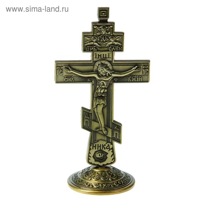 """Крест на подставке """"Православный"""", бронзовый цвет"""