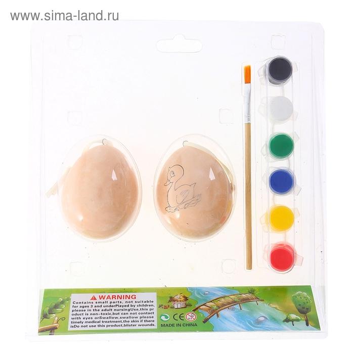 """Роспись по керамике на подвесе """"Яйца с цветочками"""" с 6ю красками и кисточкой, набор 2 штуки"""