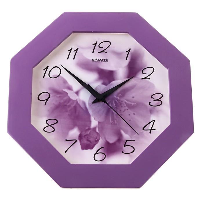 """Часы настенные """"Цветок"""", деревянные, сиреневые"""