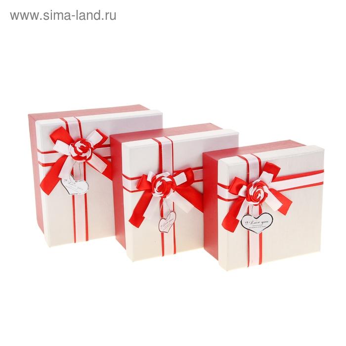 Набор коробок 3 в 1, тесьма с розой красные