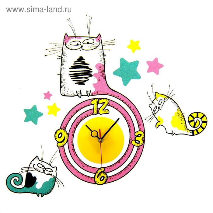 """Часы - наклейки на стену """"Кошечки"""""""