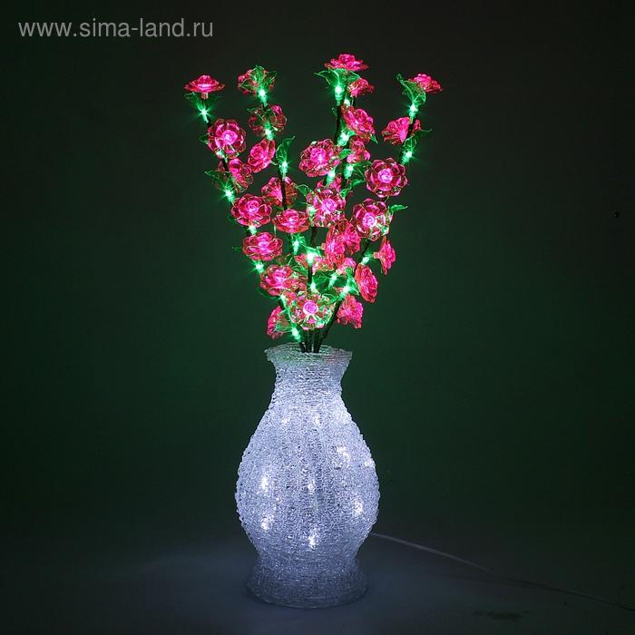 Светодиодная ваза 70х20, 3 цвета, 96 LED, цветы РОЗОВЫЕ