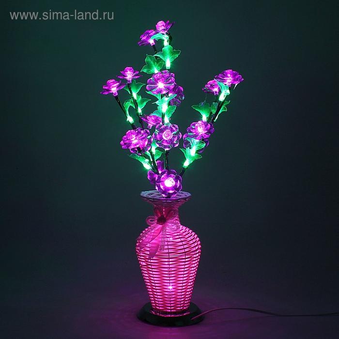 Светодиодная ваза 60х12, 2 цвета, 44 LED, цветы ФИОЛЕТОВЫЕ