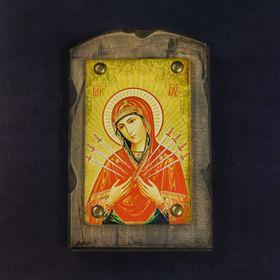 """Икона над дверью под старину """"Семистрельная икона Божией Матери"""""""