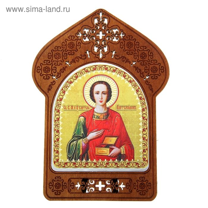 """Ажурная икона на подставке """"Святой целитель Пантелеимон"""""""