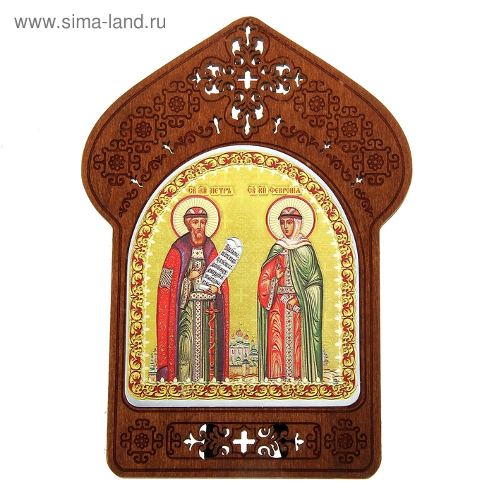 """Ажурная икона на подставке """"Святые Петр и Феврония"""""""
