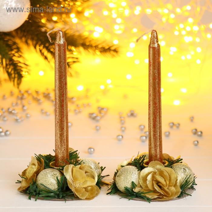"""Подсвечники со свечами """"Золотые цветы и шарики"""" (набор 2 шт.)"""