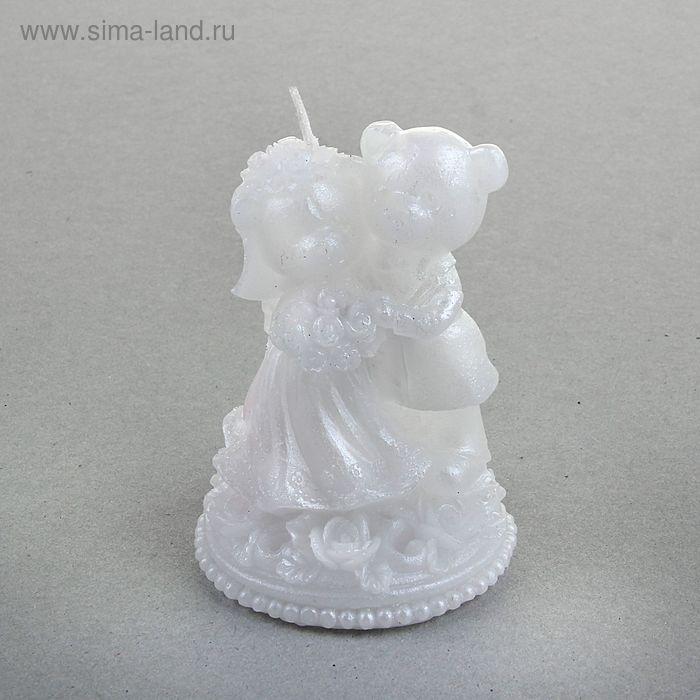 """Свеча восковая """"Свадебные мишки"""", цвет белый"""