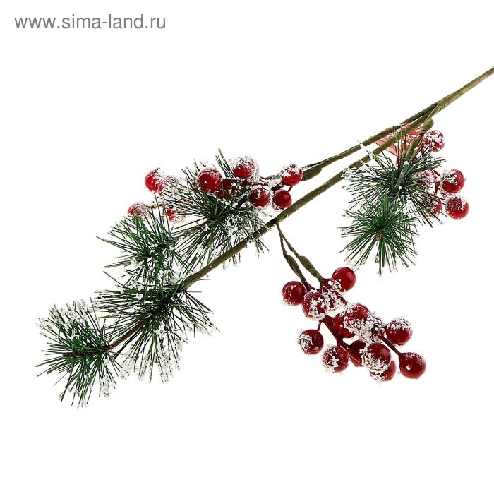 """Декор новогодний """"Ветка ели с зимними ягодами"""""""