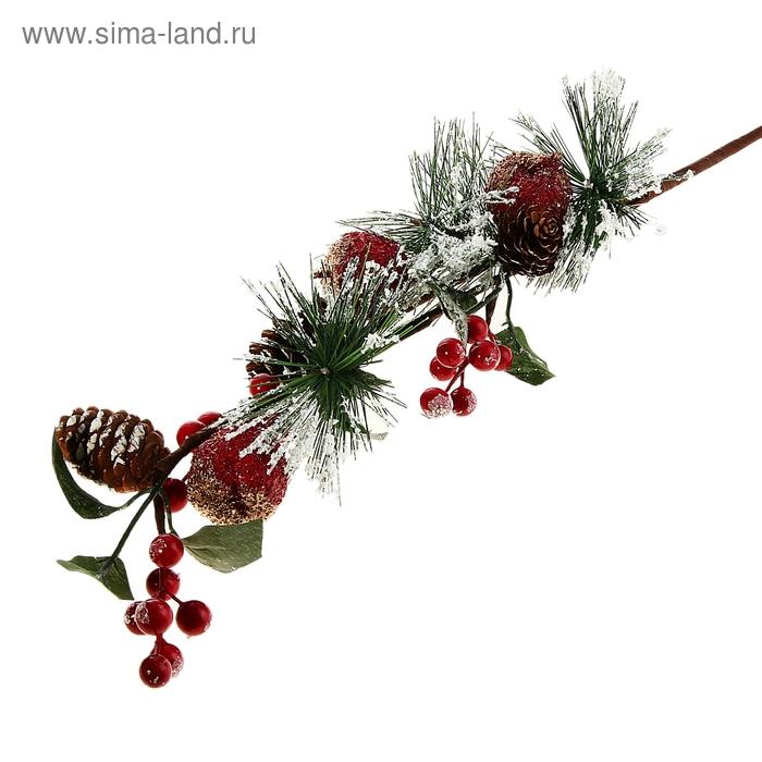 """Декор новогодний """"Ветка ели с зимними яблочками"""""""