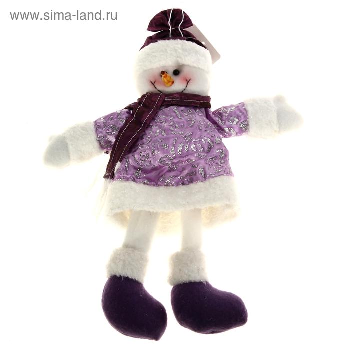 """Мягкая игрушка """"Снеговик в блестящей шубке"""""""