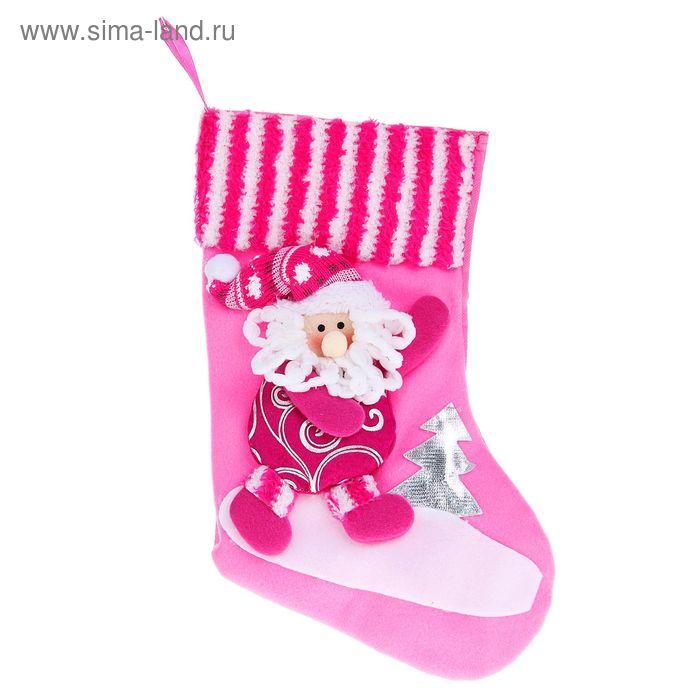 """Носок для подарка """"Дед Мороз"""" (серебристые узоры)"""