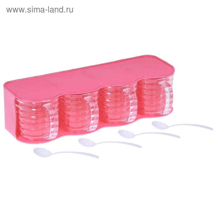 """Емкость для сыпучих продуктов """"Яблочки"""", 4 секции с ложками, цвета МИКС"""