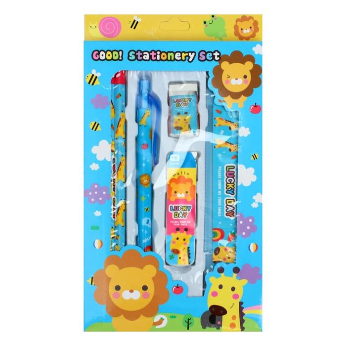 Набор в пластик футляре белый с синим кантом: ручки шариковые 2шт, маркер, карандаш