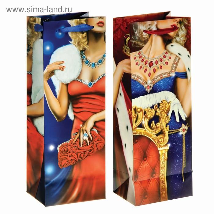 Пакет ламинат вертикальный под бутылку (стразы) «Королеве»,13 х 36 см