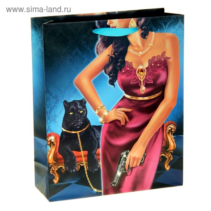 Пакет ламинат вертикальный (стразы) «Пантера», 26 х 32 см