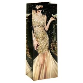 Пакет ламинат вертикальный под бутылку с блёстками «Ты восхищаешь»,13 х 36 см Ош